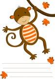 Carte accrochante d'invitation de singe Images stock