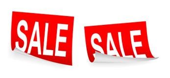 Carte rosse dell'adesivo di vendita Fotografie Stock Libere da Diritti