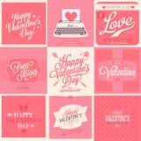 Carte adorabili di San Valentino 9 felici Immagini Stock