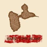 Carte affligée par île de Basseterre Images libres de droits