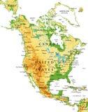 Carte Amérique-physique du nord Photo stock