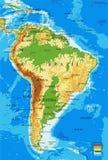 Carte Amérique-physique du sud Photo stock