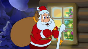 Carte animée de Noël avec le personnage de dessin animé Santa Claus banque de vidéos