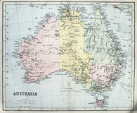 Carte antique d'Australie Photographie stock