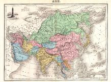 carte antique de 1870 Asie Image stock