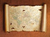 Carte antique de défilement avec les bords enroulés illustration stock