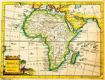 Carte antique de l'Afrique Photo stock