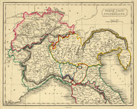 carte antique de l'Italie nordique Image stock