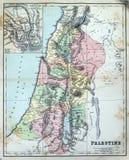 Carte antique de la Palestine Images libres de droits