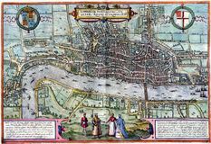 Carte antique de Londres Image stock