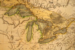 Carte antique des Great Lakes images stock