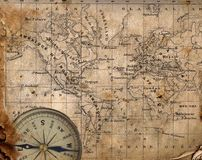 Carte antique du monde. Photo stock