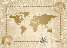Carte antique du monde Photo libre de droits