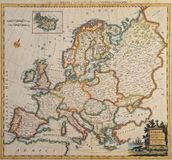 Carte antique initiale de l'Europe. photo stock
