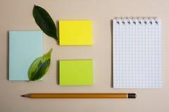 Carte appiccicose colorate differenti del blocco note tre e due matite su un fondo leggero Immagine Stock Libera da Diritti