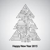 Carte, arbre pendant la nouvelle année Photos stock