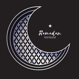 Carte argentée de Crescent Moon Mosque Window Ramadan Kareem Greeting Images libres de droits