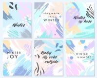 Carte artistiche uniche di inverno royalty illustrazione gratis