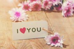 Carte avec amour de message vous sur la lettre sur le fond en bois Images stock