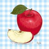 Carte avec Apple et la tranche rouges mûrs Illustration Libre de Droits