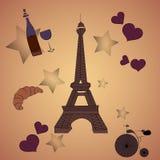 Carte avec des éléments de Paris, bouteille de Tour Eiffel de coeur de vin et bicyclette Images stock