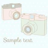 Carte avec des appareils-photo de photo Photo stock