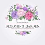 Carte avec des fleurs Photographie stock libre de droits