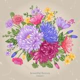 Carte avec des fleurs d'été illustration libre de droits