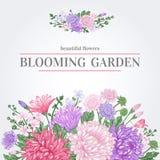 Carte avec des fleurs d'été illustration de vecteur