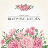 Carte avec des fleurs de jardin illustration de vecteur