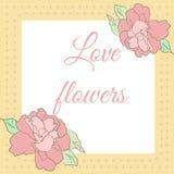 Carte avec des fleurs de ketmie Images libres de droits