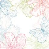 Carte avec des fleurs de papillon illustration stock