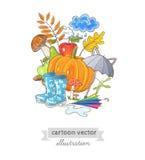 Carte avec des objets d'automne et endroit pour votre texte Photo libre de droits
