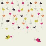 Carte avec des oiseaux et des coeurs illustration stock