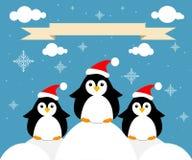 Carte avec des pingouins illustration stock