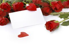 Carte avec des roses et des coeurs Photographie stock libre de droits