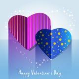 Carte avec deux coeurs, bleus et pourpres Photo stock