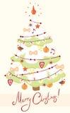 Carte avec l'arbre de Noël décoré Photo stock