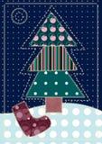 Carte avec l'arbre de Noël Photos libres de droits