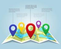 Carte avec l'illustration de vecteur de marqueurs de goupille Indicateurs d'emplacement de cartographie illustration libre de droits