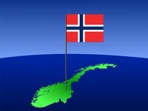 Carte avec l'indicateur norvégien Photo stock