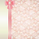 Carte avec la dentelle blanche sur le fond rose illustration libre de droits