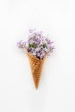 Carte avec la fin vers le haut du bouquet des fleurs lilas pourpres de ressort dans le cône de gaufre sur le fond blanc Vue supér Image stock