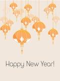 Carte avec la lanterne chinoise Image stock