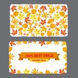 Carte avec la remise de 20 pour cent Calibre d'insecte d'automne avec des feuilles Photo stock