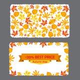 Carte avec la remise de 20 pour cent Calibre d'insecte d'automne avec des feuilles Images stock