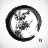 Carte avec le bambou dans le style de sumi-e Photos stock