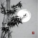 Carte avec le bambou dans le style de sumi-e Photos libres de droits