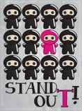 Carte avec le caractère mignon de ninja de dessin animé Photographie stock