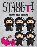 Carte avec le caractère mignon de ninja de dessin animé Images stock